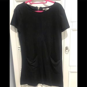 Mini black suede dress